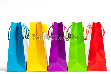 colorful row of shopping bags