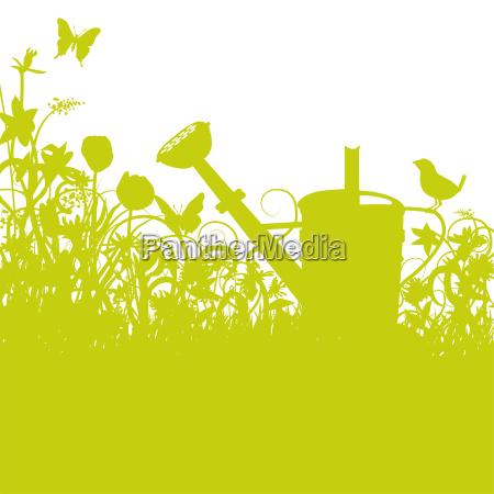 grasshaf watering can garden and bird