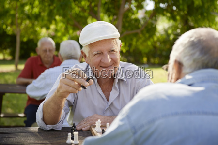 active retired seniors two old men