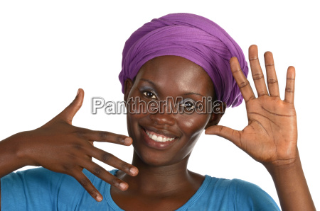 pretty african woman with headscarf