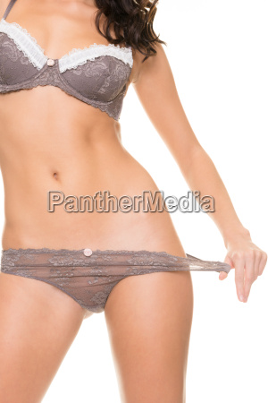 woman with gray underwear
