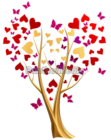 golden tree with hearts and butterflies
