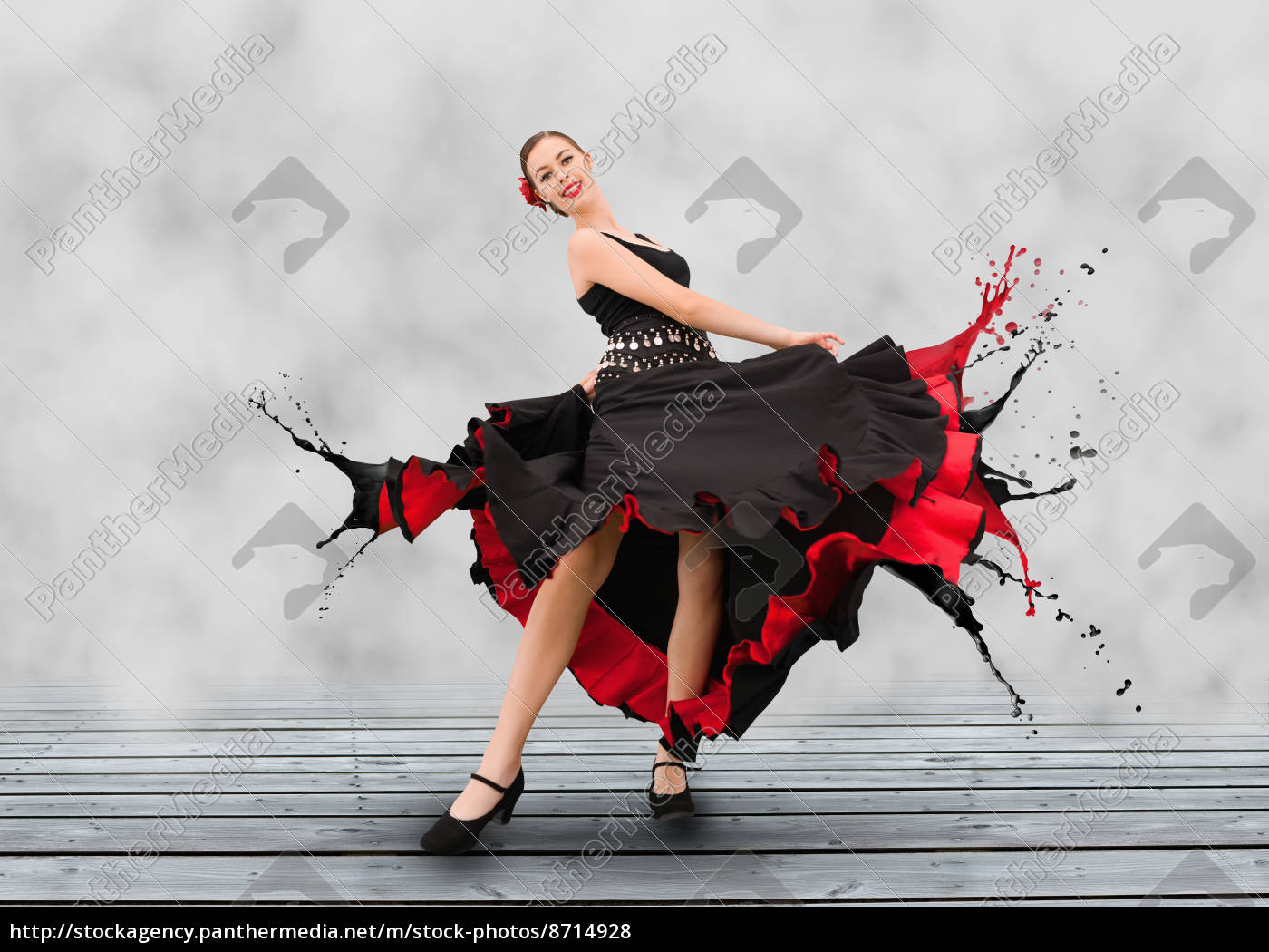 0a8510877 Royalty free photo 8714928 - Flamenco dancer with dress turning to paint  splashes