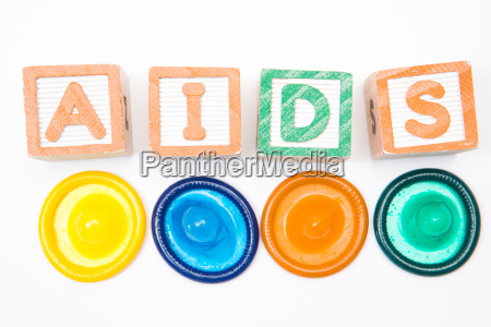 wood blocks spelling out aids with