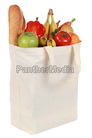 bag with fruits and vegetables