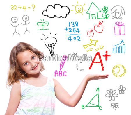 school girl with hand written school