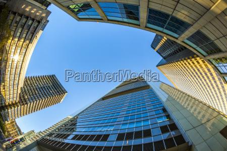 perspective of skyscrapers in frankfurt