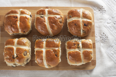 six hot cross buns