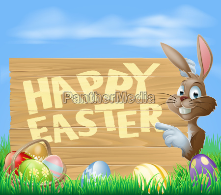 easter, bunny, happy, easter, sign - 8762320