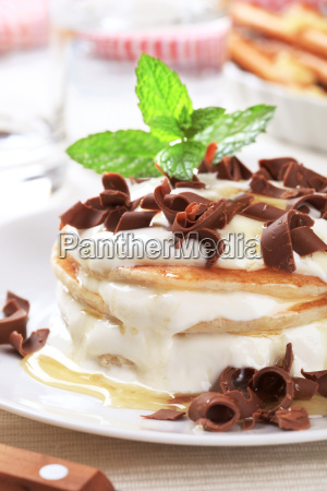 pancakes with creamy cheese and chocolate