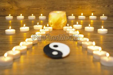 zen garden with yin and yang