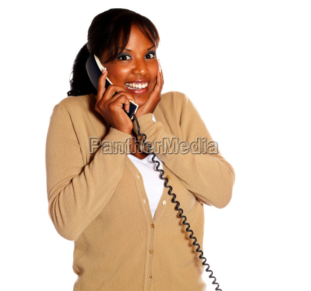 happy young woman smiling and conversing