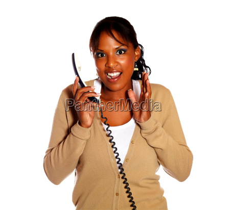 excited, woman, talking, on, phone, and - 8778482