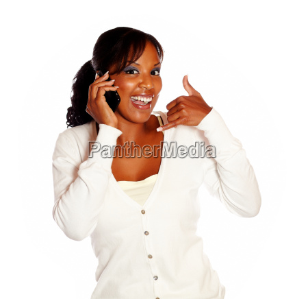 woman saying call me while speaking
