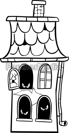 haunted house cartoon for coloring