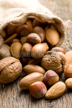 various nuts in jute sack