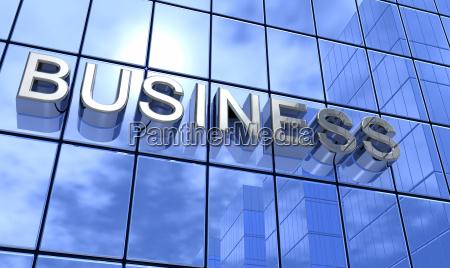 3d blue business skyline