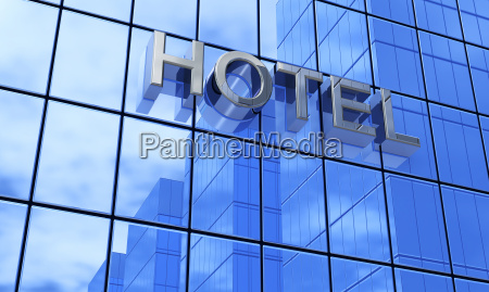 3d hotel sign blue silver