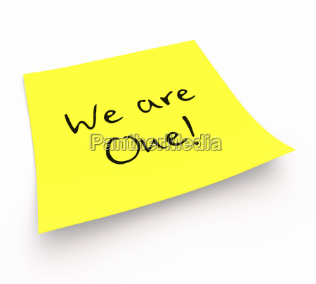 yellow sticky note we are