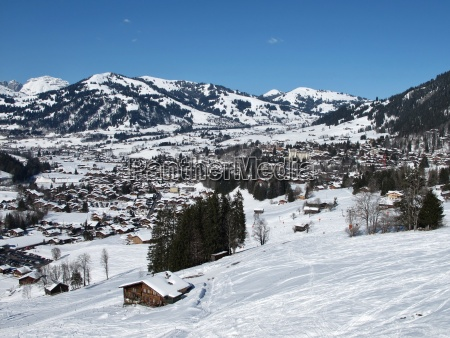 ski tracks and famous village gstaad