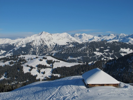 hut and mountains near gstaad