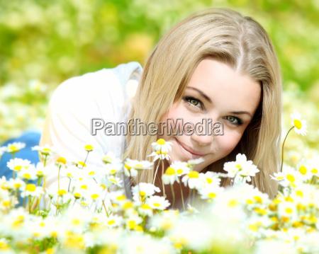 enjoying on the flower field