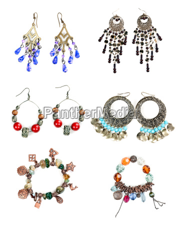 woman jewelry collection on white background