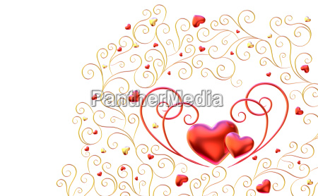 golden curls branches with hearts