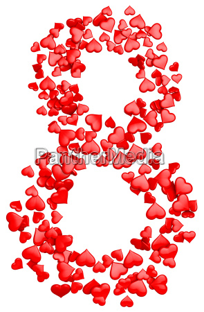 digit eight consisting of red hearts