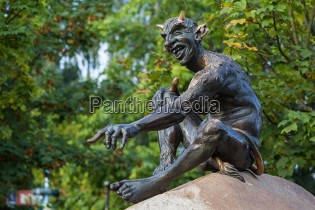 statue devil and witch from the