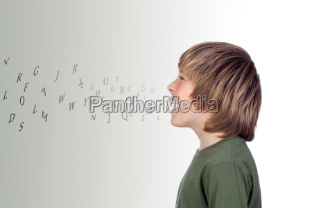 adorable preteen with many letters out