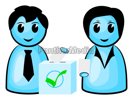 two voters with ballot box