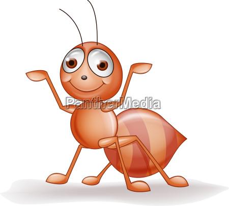 funny ant cartoon waving