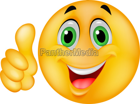 smiley emoticon cartoon with thumb up