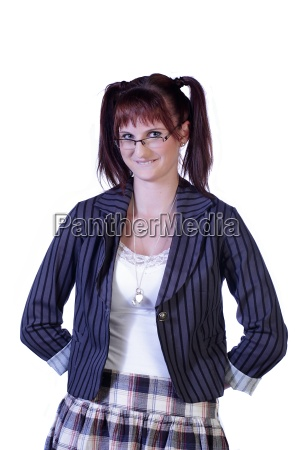 sexy nerd female with glasses isolated