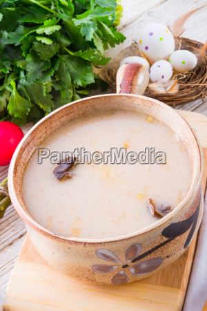 polish easter soup with egg and