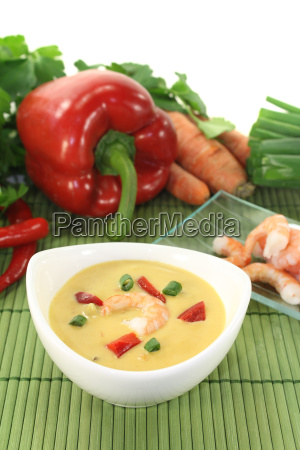 fresh curry soup with prawns