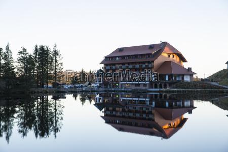 mummelsee with berg hotel seebach