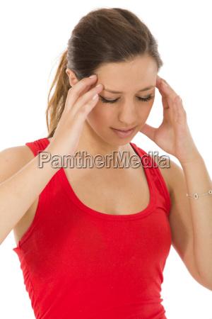 young woman has headache