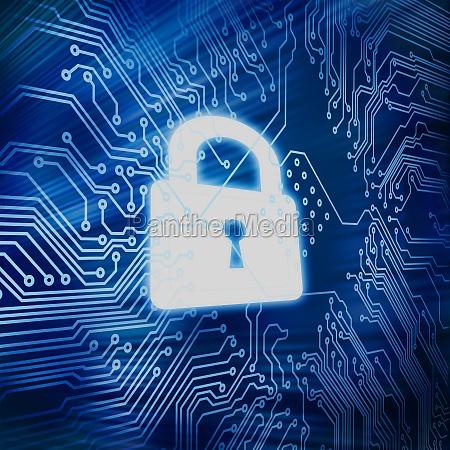 digital circuit board with white padlock