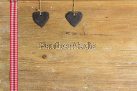 heart of slate on a wooden