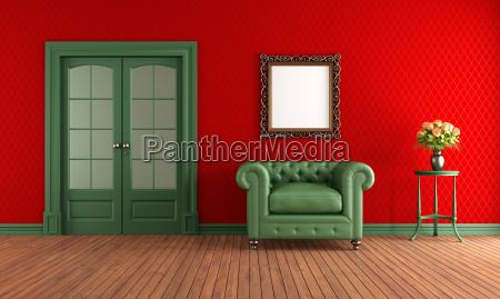 red and green vintage room with