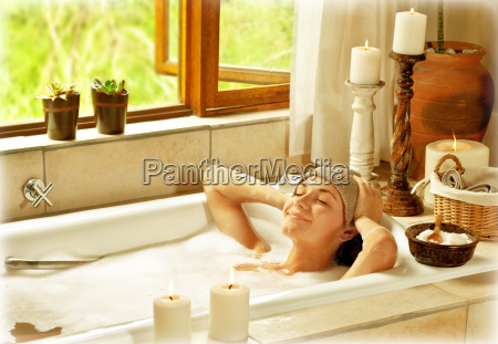 woman taking bath