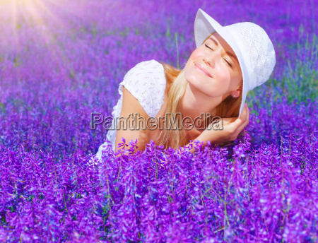 beautiful female on lavender field