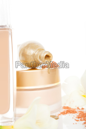 luxurious golden and beige cosmetics background