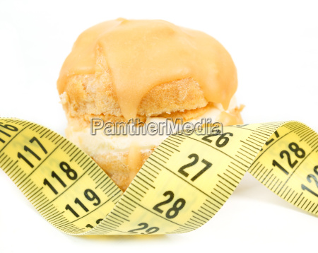 concept of slimming caramel cake with