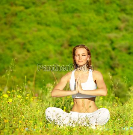 healthy female doing yoga