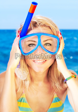 funny girl portrait wearing mask
