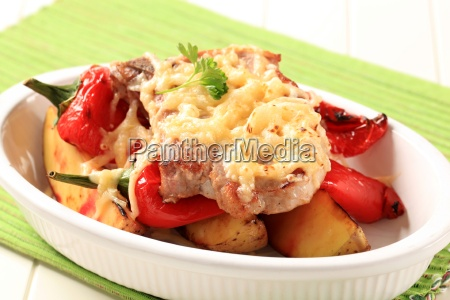 pork chop with potatoes and red