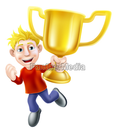 cartoon man and winners trophy